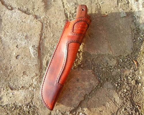 Kožené pouzdro na nůž s pštrosí kůží