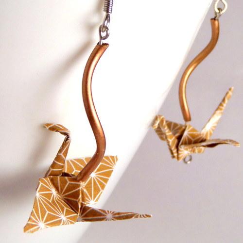 Kávou vonící - origami náušnice