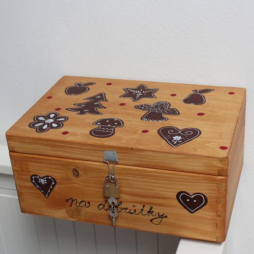 Dřevěná krabička na CUKROVÍ se zámkem