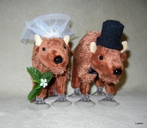 Svatební plyšáci na auto - bizoni