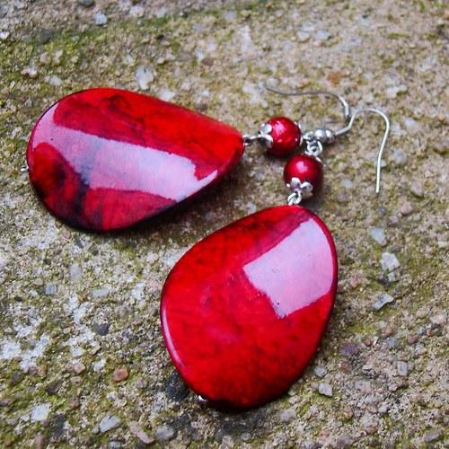 náušnice velké červené mramorové