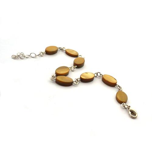 Perleťový olivově hnědý náramek