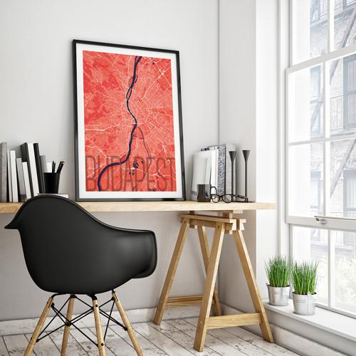 BUDAPEŠŤ, 50x70cm, elegantní, červená