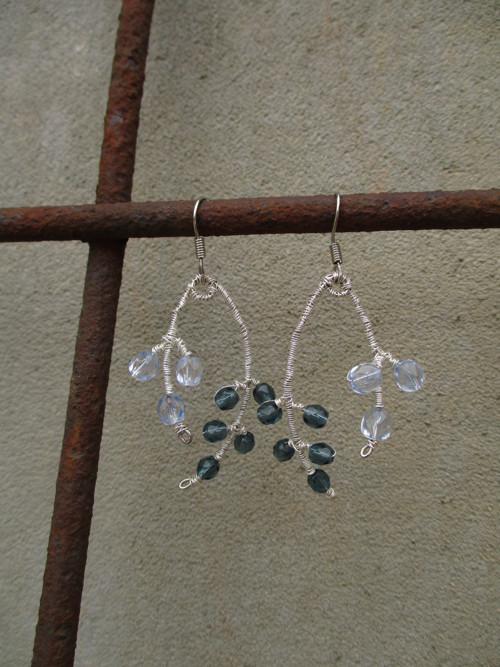 Náušnice větvičky modré