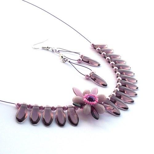Šeříky-rozkvetlý náhrdelník s náušnicemi-15%sleva