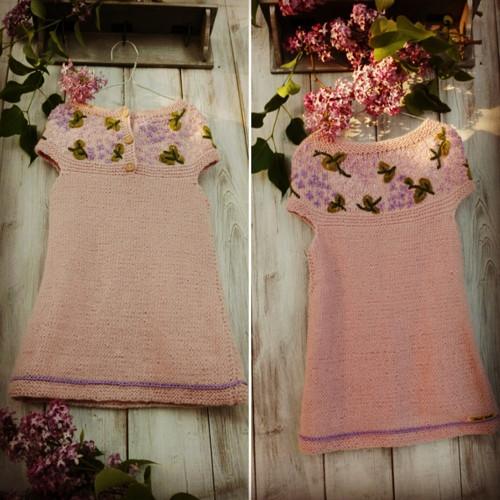 Ručně pletené dětské šatečky, růžové