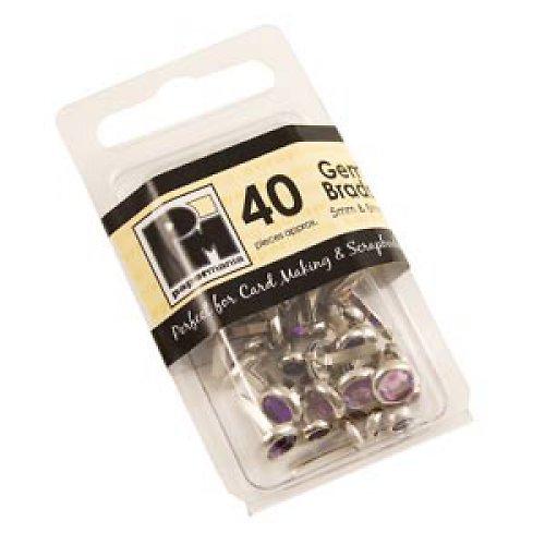 Hřebíčky s kamínkem - Fialové - 40 ks  5mm & 8mm
