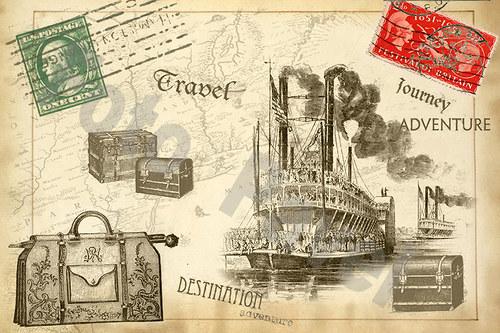Vintage  motivy - cestování, kolesový parník