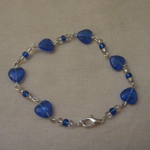 Modrý srdíčkový