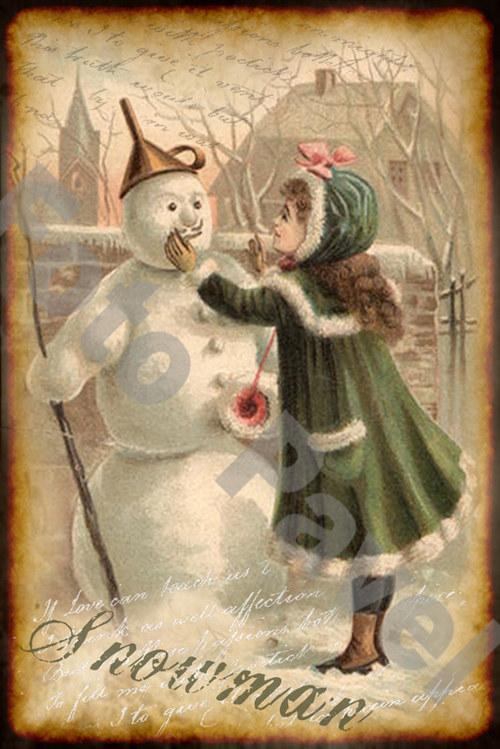 Vintage motiv - holčička a sněhulák
