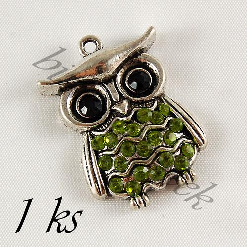 Světle zelená sovička Jůlinka - 1ks