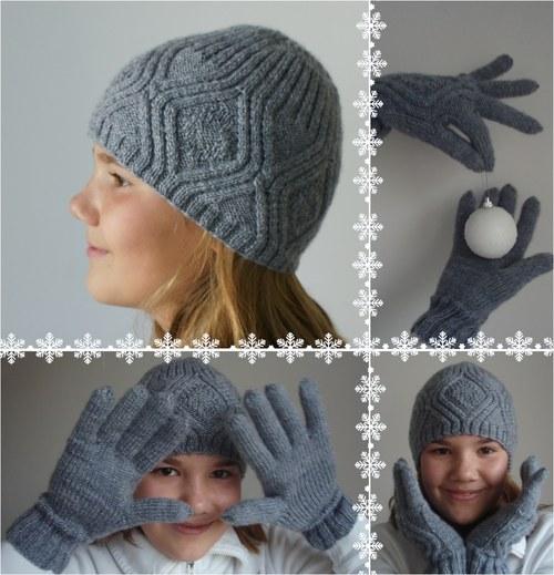 Sada Platinová klasika, čepice a rukavice