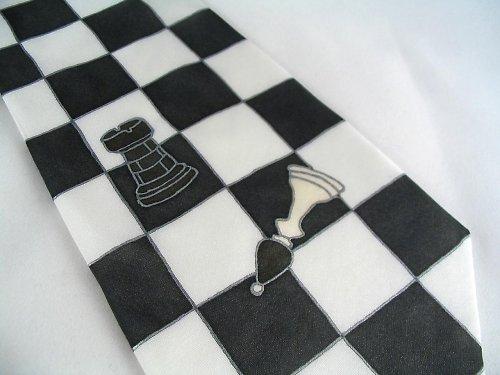 Šachová kravata černo-bílá