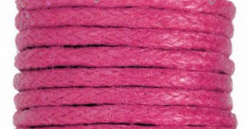 Voskovaný bavlněný  provázek 20m - Růžová