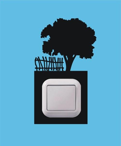 Samolepka k vypínači - Strom a plot