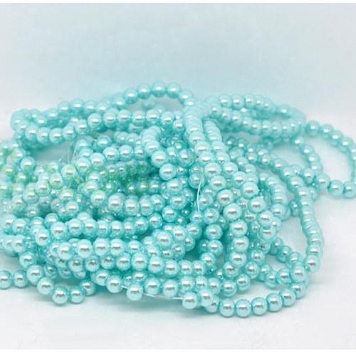 perly skleněné / modrá - světle / 6mm/ 20ks