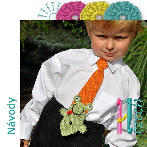 Háčkovaná kravatka žába