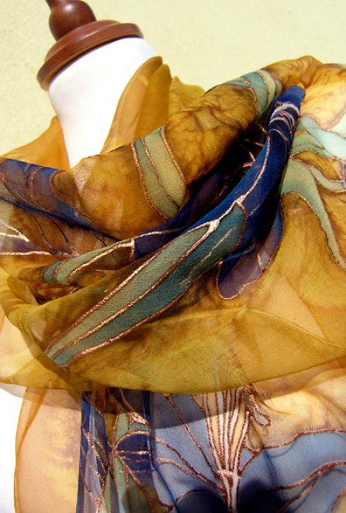 Šifónový šál - lilie