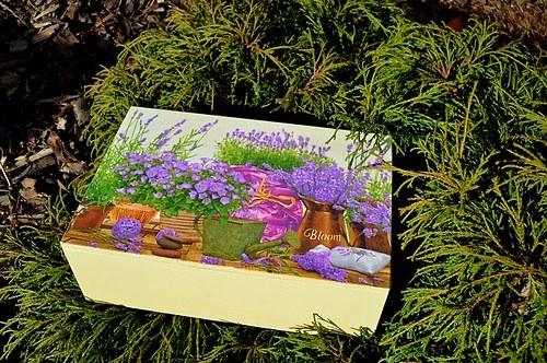 Krabička na čaj - 8 přihrádek - levandule