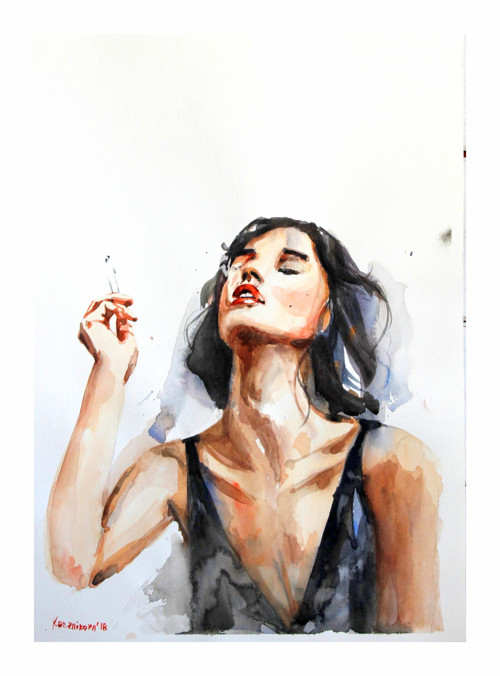 Serie Lide, Dym, Originalni Obraz A3