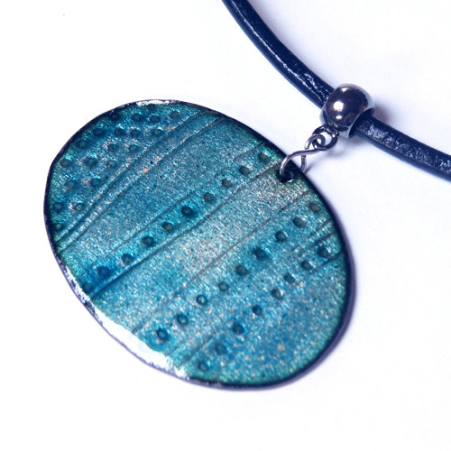 Modrý oválný - smaltovaný náhrdelník