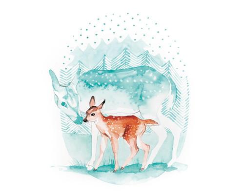 akvarel- ilustrace- Srnečci 1