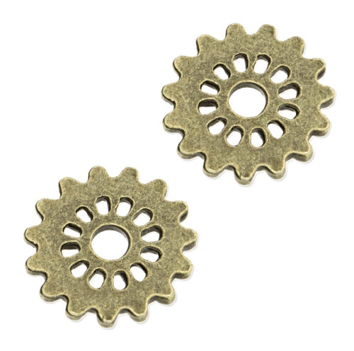 Bronzový přívěsek - ozubené kolečko menší, 4 kusy