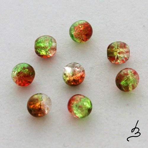 Kuličky 6 mm oranžovozelené
