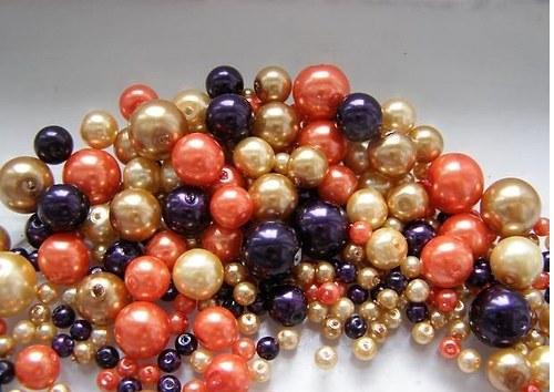Voskované perly oranž. MIX Ø4-10mm 50g skleněné