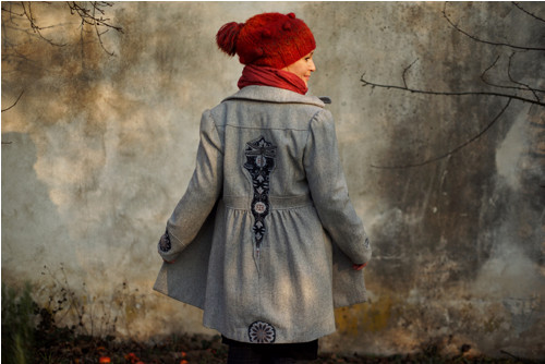 "\""Gray Dragonfly\"", UPCYKLING kabát"