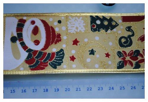 Vánoční stuha 63mm s lurexem a drátem - 1m