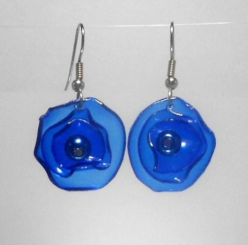 PET naušnice modré květy