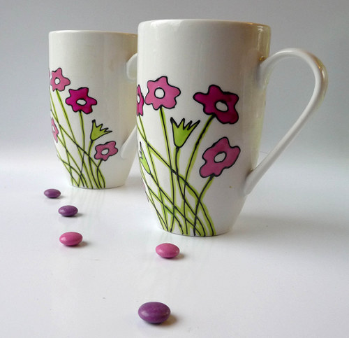 hrnek velký - kytky