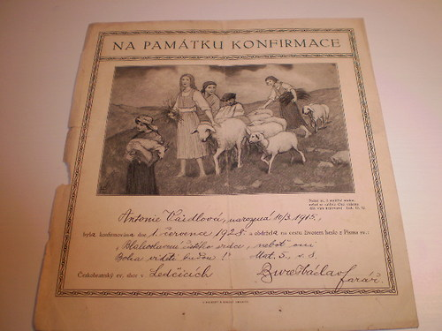 KONFIRMAČNÍ LIST na památku z roku 1915