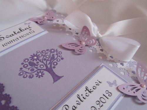 Svatební kniha hostů- butterfly lila s perličkami