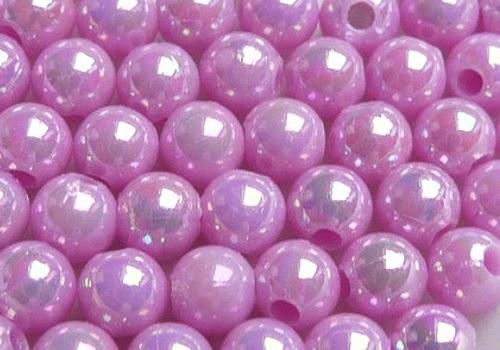 Plastové kuličky duhové 4 mm - sv. fialová / 20 ks