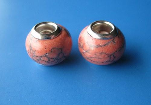 Korálky - 2ks, oranž.imitace kamen