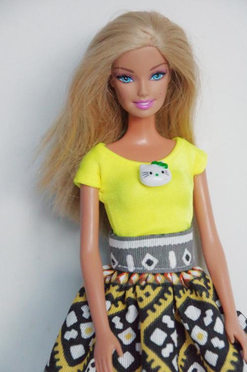 Neónkové žlté tričko pre Barbie