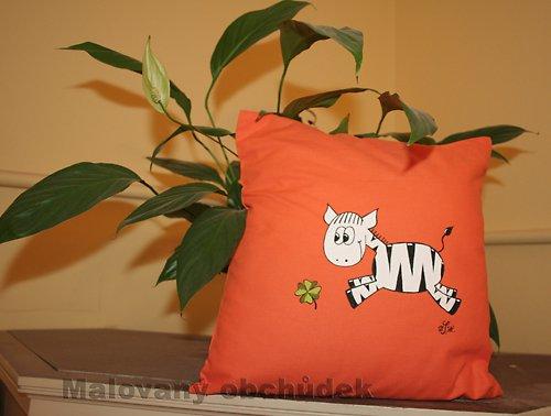 Malovaný povlak na polštář-slečna Zebra Šťastná