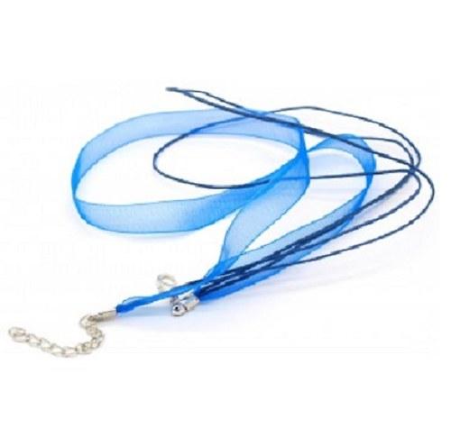 Ozdobná stuha  z organzy se zapínáním - tm. modrá