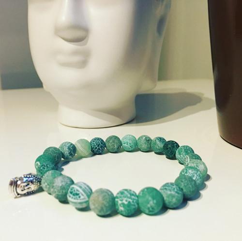 Zelený Achát náramek s buddhou - kámen sebedůvěry