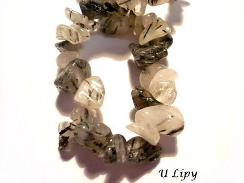 Minerální zlomky 20 cm - křišťál s turmalínem