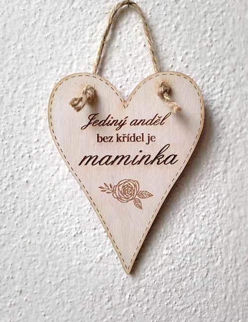 Cedulka Maminka - přírodní 11 cm