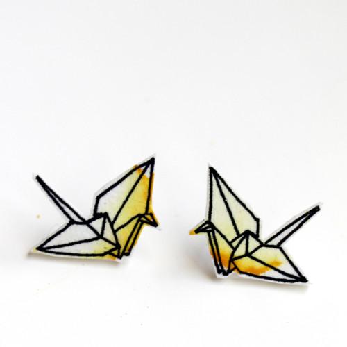 Náušnice: Origami jeřábi akvarel žlutí