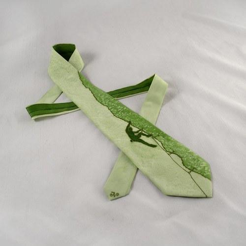 Hedvábná kravata (nejen) pro horolezce - sv.zelená