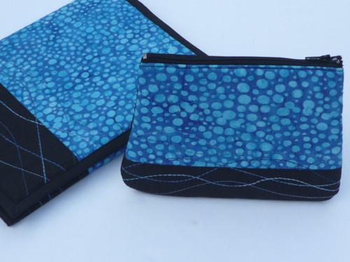 Kosmetická taška, pouzdro - modrá batika