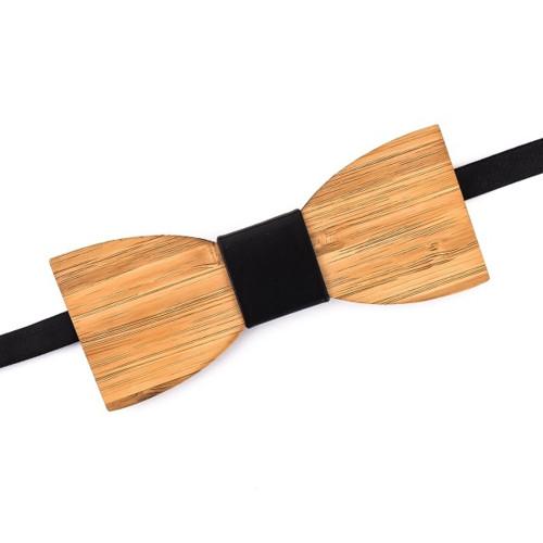 Luxusní pánský dřevěný motýlek Klasik Leather