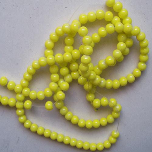 skleněné korálky LESK/ žlutá/ 8mm/14ks