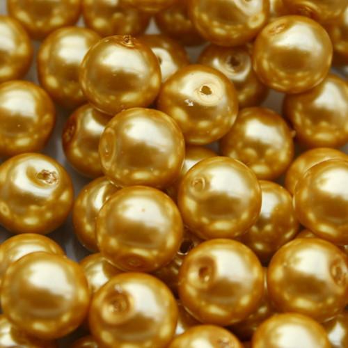 8 mm voskové perle zlatohnědé 20 ks