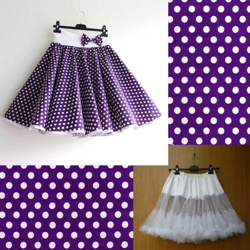Fialová puntík. sukně+objemnější bílá spodnička